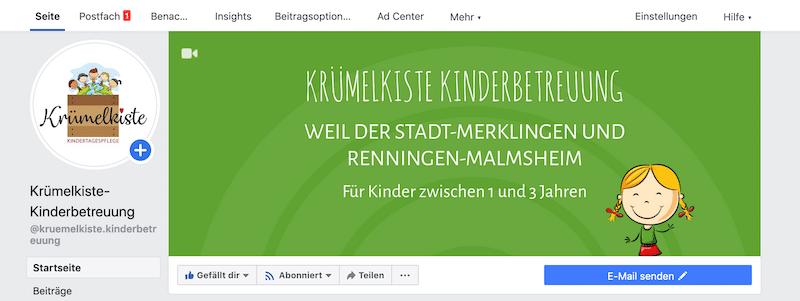 Facebook-Seite Krümelkiste Kinderbetreuung